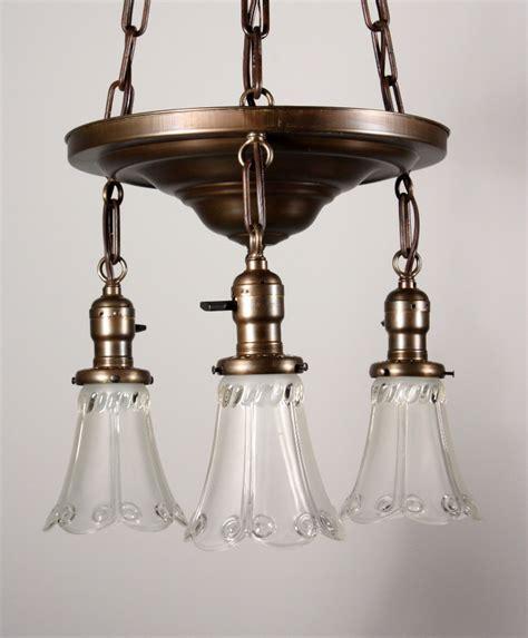 Antique Brass Chandeliers For Sale Fantastic Antique Brass Three Light Chandelier With Glass Shades Nc855 For Sale Antiques
