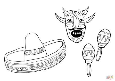 Mask Sombrero And Maracas Coloring Page Free Printable Sombrero Coloring Page