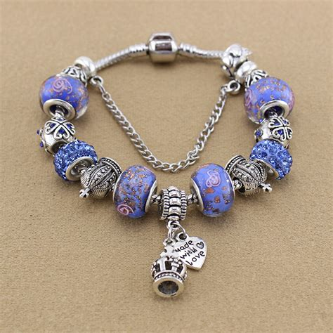 925 Sterling Silver Crown Bracelet 925 sterling silver charm bracelets bangles for