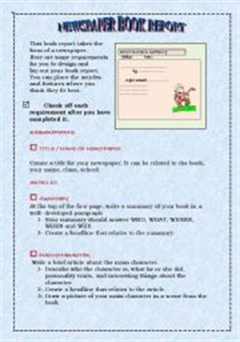 newspaper book report project worksheet newspaper book report project