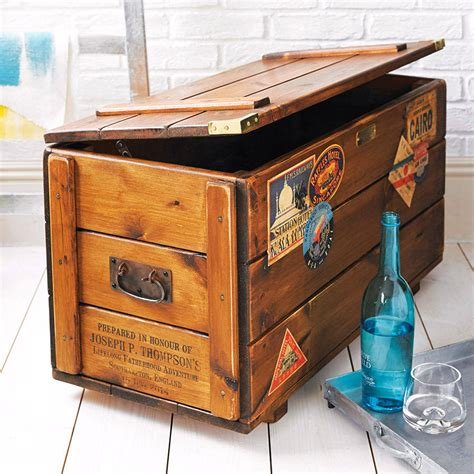 wooden trunk personalised storage trunk vintage travel blanket chest by