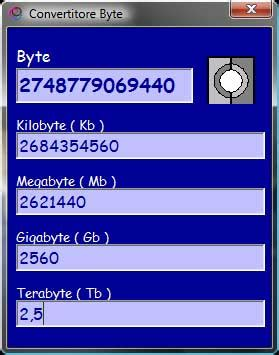 convertitore byte conversion between bytes and its