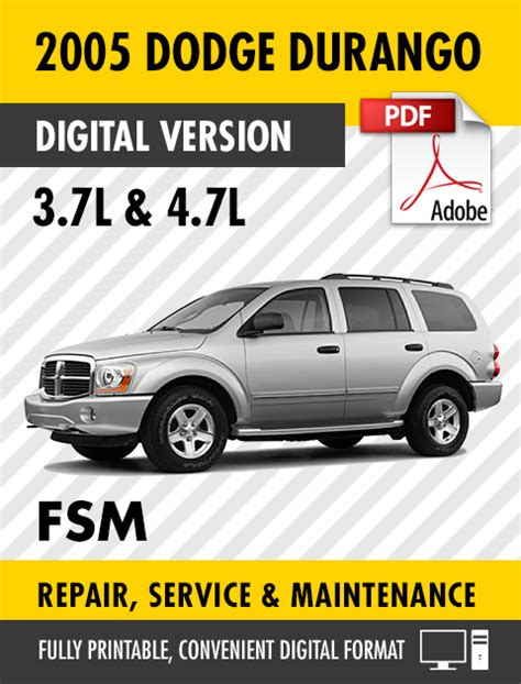 dodge durango 2001 factory service repair manual pdf zip download 2005 dodge durango 3 7l 4 7l factory repair service manual s manuals