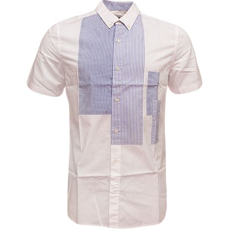 Patch Check Shirt By Famo mens shirt sleeve button collar check stripe patch white ebay