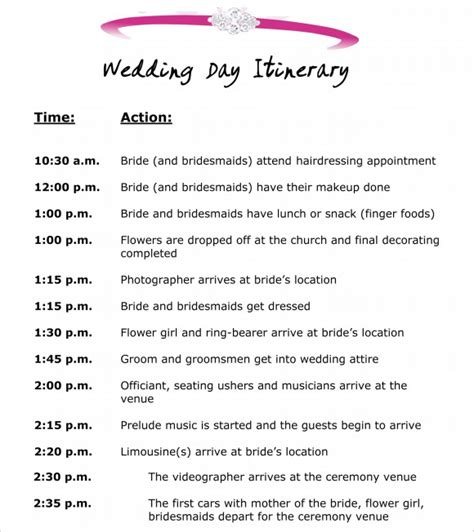 wedding day itinerary template excel calendar template 2016