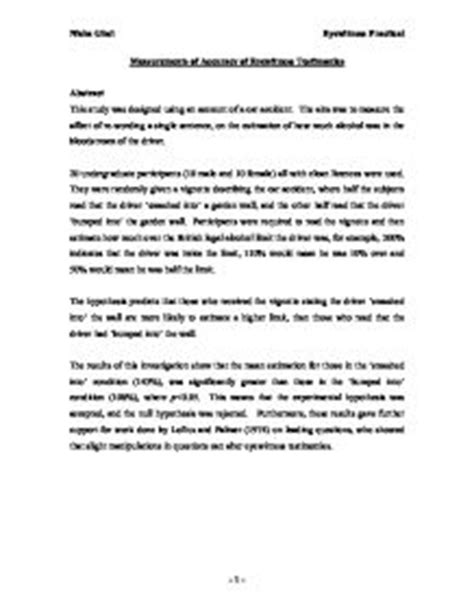 eye witness report sle measurements of accuracy of eyewitness testimonies a