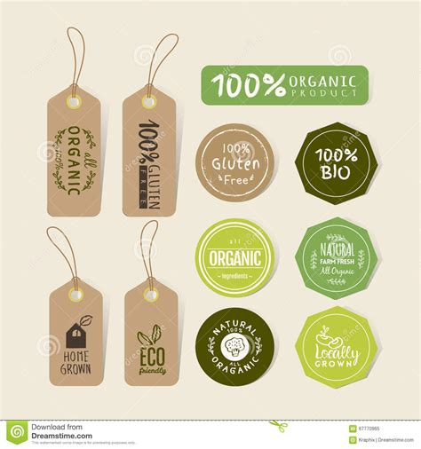 design organic label set of organic food tag and label sticker design stock