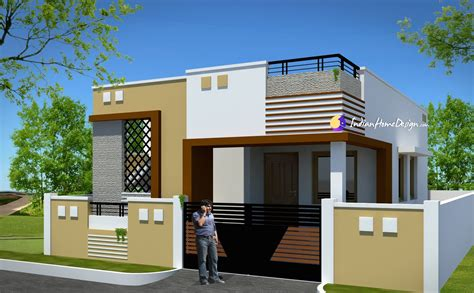 Contemporary Low cost 800 sqft 2 Bhk Tamil Nadu Low cost Home Design by NS Architect