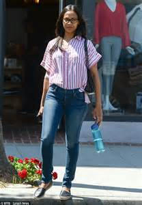 White Stripe Pink Black Slim Sling Styled S M Dress 44755 zoe saldana in pink and white striped shirt with stylish black rimmed glasses daily mail