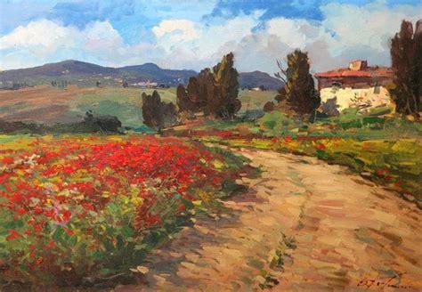 pintura del paisaje de la toscana sobre lienzo arte