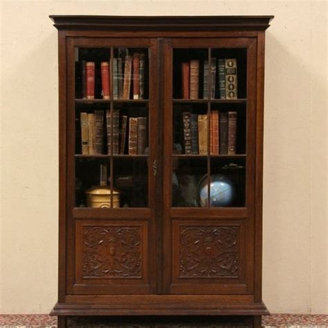 Wood Bookcases With Glass Doors Antique Wood Bookcase Glass Doors Interior Home Decor