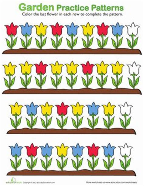 flower pattern names kindergarten patterns worksheets flower pattern