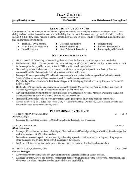 district manager resume exles district manager restaurant resume