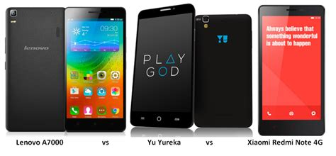 Xiaomi Lenovo A7000 lenovo a7000 vs yu yureka vs xiaomi redmi note 4g specs features comparison with