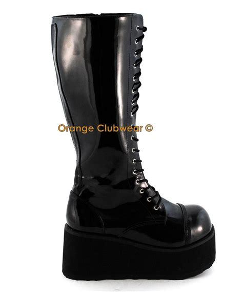 mens boots combat style shoes demonia mens combat style knee high platform