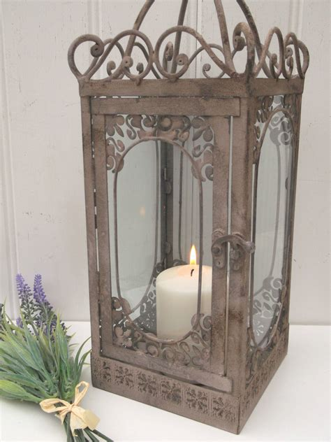 Vintage Style French Grey Large Lantern Candle Holder