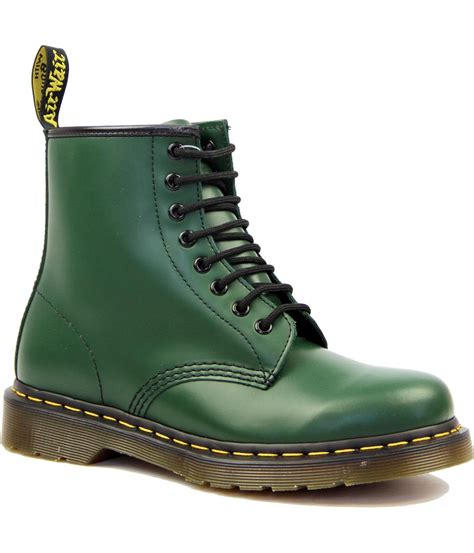 boots green dr martens 1460 retro 60 s classic smooth green leather boots