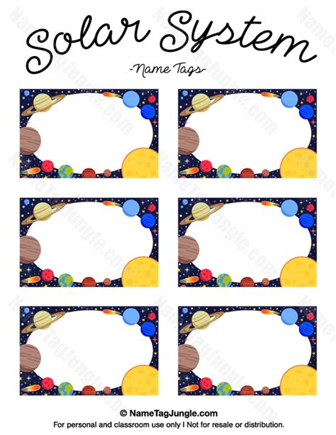 solar system trading cards template high school printable solar system name tags