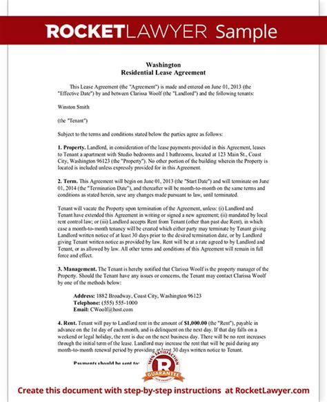 rental agreement template washington state washington state lease agreement residential lease
