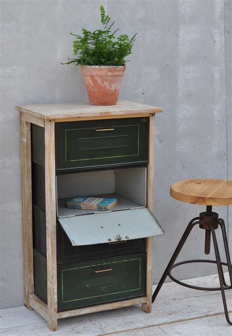 Vintage Pull Down Metal Filing Drawer Cabinet   Home Barn