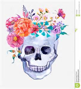 Tattoos Of Flowers And Butterflies - watercolor flowers and skull background stock illustration
