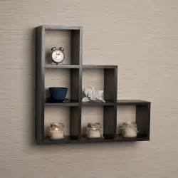 Decorative Wall Bookshelves Buy Stepped Six Cubby Decorative Black Wall Shelf By Danya B