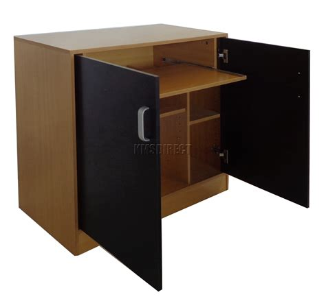 Cabinet Computer Desk Foxhunter Pc Computer Desk Table Home Office Hideaway Workstation Cabinet Black Ebay