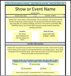event vendor application template dfwcraftshows vendor applications part iii the template