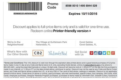 crate and barrel coupons printable