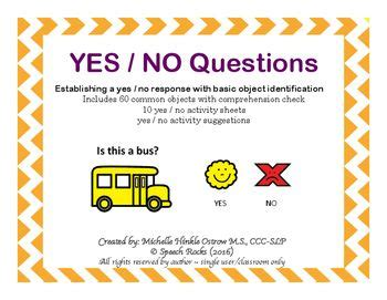 Or Yes Or No Questions 32 Best Yes No Question Activities Images On Speech Therapy Articulation Therapy