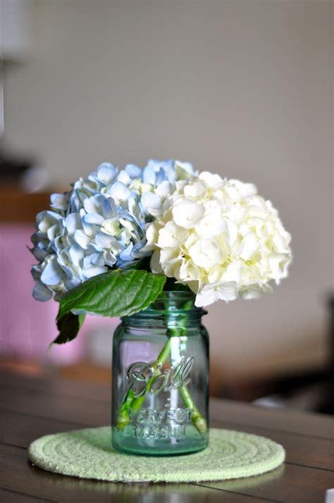 2 hydrangeas in mason jar pew marker or centerpiece