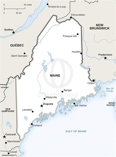 show me a map of maine vector map of maine political one stop map