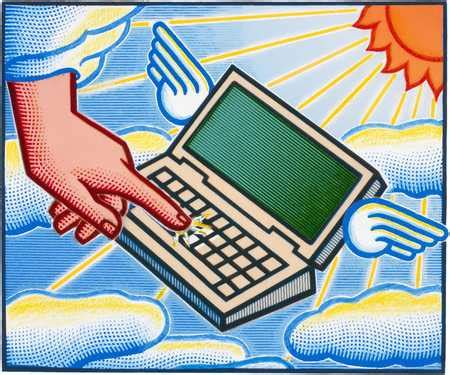 Computer Wings stock illustration laptop computer with wings