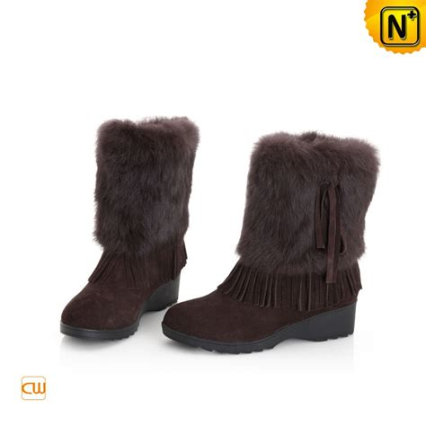 womans fur boots womens brown snow boots rabbit fur suede cwmalls