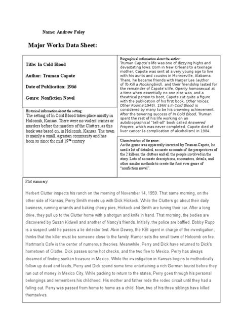 major works in cold blood major works data sheet kansas