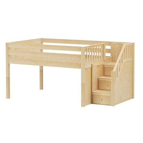 low loft bed with stairs maxtrixkids perfect np low loft bed w staircase full