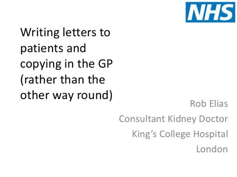 Writing Letters To Patients And Copying Gp In writing letters to patients and copying gp in
