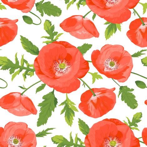 seamless pattern with beautiful red poppies fabric ybt