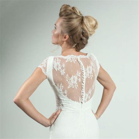 buttons and lace volume 1 lace wedding dress with cap sleeves vintage by