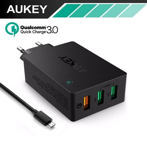jual aukey qualcom charge 3 0 tech 3 port usb 24hoursshop