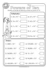 Powers Of Ten Worksheets 5th Grade by Multiplying And Dividing Decimals By Powers Of 10