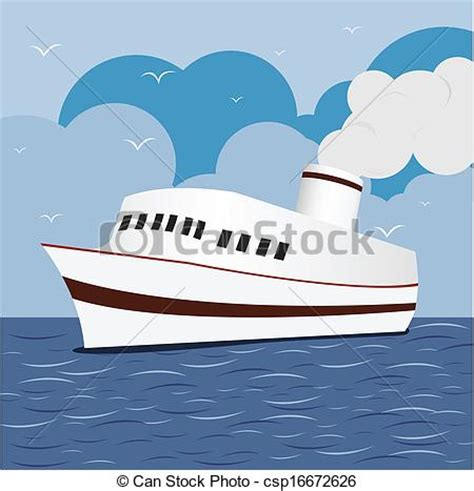 cartoon boat at sea vector illustration of ocean liner cruise ship boat at sea