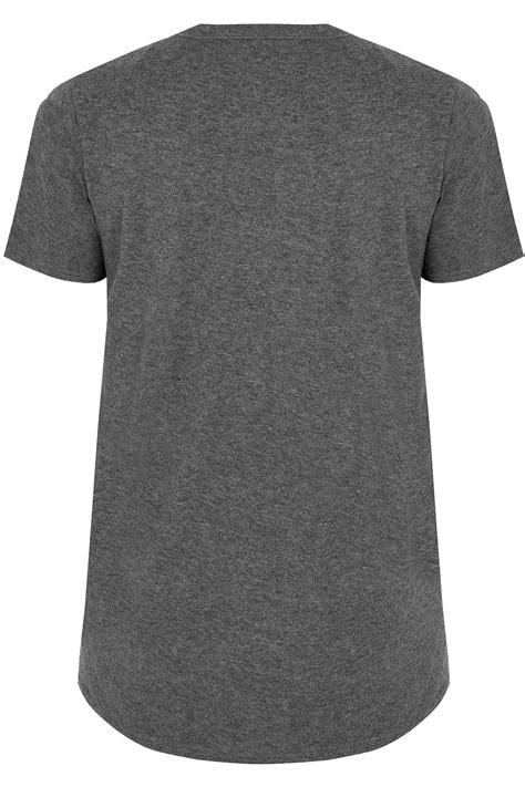 Ripped Knee Jsk 9105 Size 27 30 grey longline slogan print t shirt with choker neck plus