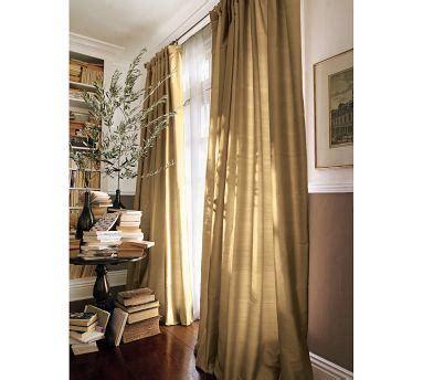Ballard Designs Headboards dupioni silk gold pole drapes