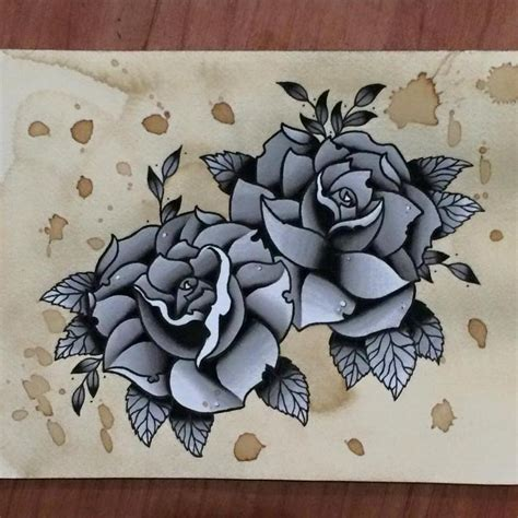 traditional black amp grey rose tattoo flash painting by