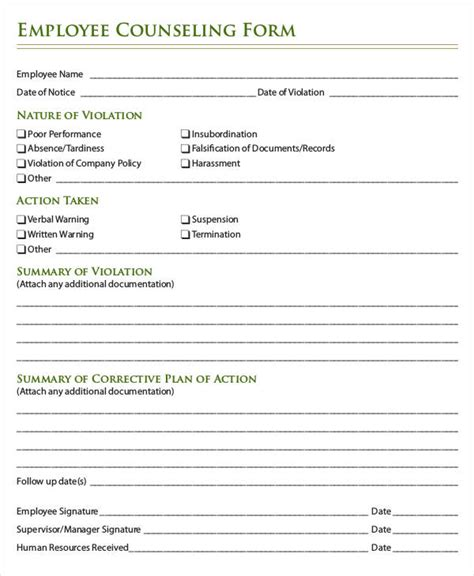 write up forms for employees templates free employee write up form 6 free word pdf documents