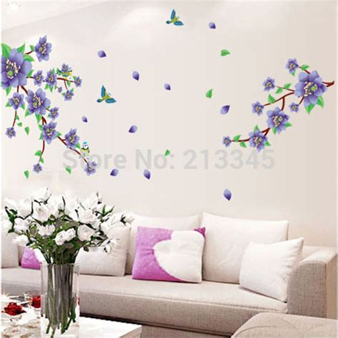 flower wall stickers for bedrooms saturday monopoly new removable 2015 purple flowers tree