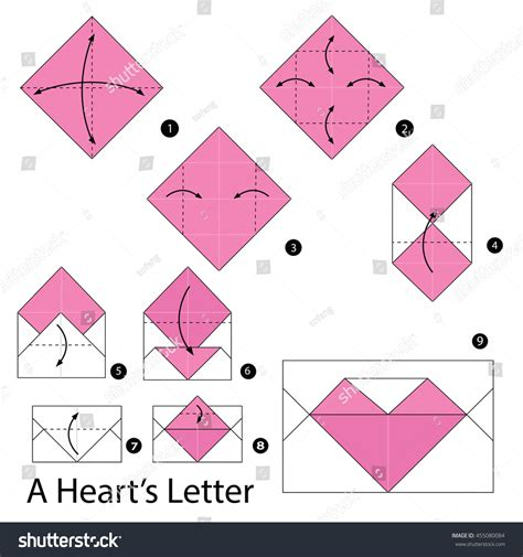 How To Make An Origami Letter - step by step how make stock vector 455080084