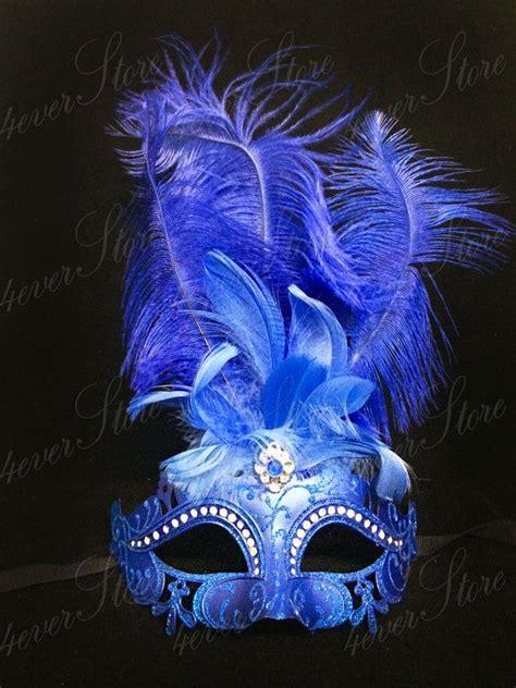 Masker Las royal blue masquerade masker met diamanten mardi gras masquerade masker jubilee kostuum masker
