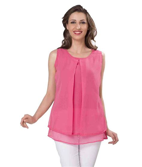 girls dess plazo dess photo ishin pink poly georgette tops buy ishin pink poly